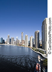 portrait of city skyline - portrait of brisbane city skyline...