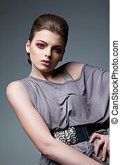 Portrait of Classy Woman in Grey Dress - Evening Professional Makeup