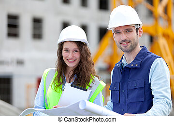 Portrait of co-workers on a construction site
