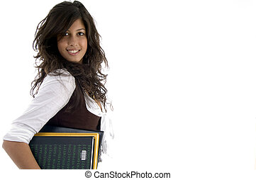 portrait of college student holding study material on an isolated white background