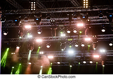 Music background drumkit on stage lights performance  Live