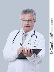 Portrait of confident medical doctor on white background