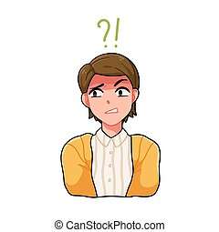 Portrait of confused anime boy with question mark and exclamation point vector illustration. Japanese teenager with confused angry face expression isolated. Modern manga teen avatar