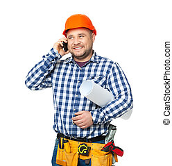Portrait of construction builder isolated on white.