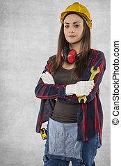 Portrait of construction worker woman
