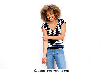 cool young african american woman smiling against white backgorund