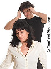 portrait of couple arguing over white background