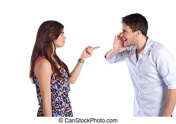 Portrait of couple fighting.