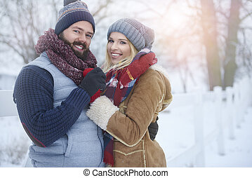 Portrait of couple going for a walk