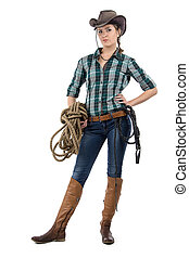Portrait of cowgirl with the twine