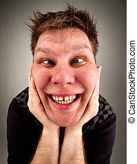 Portrait of crazy bizarre man