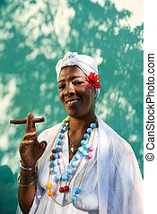 Portrait of cuban black woman smoking cigar - Portrait of ...