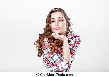 woman in plaid shirt - portrait of curly beautiful woman in...