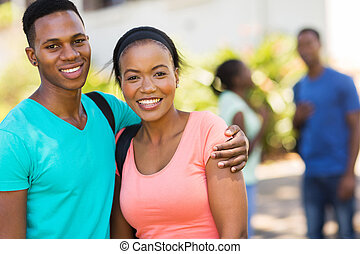 african college couple on campus
