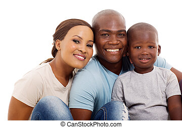 cute african family of three