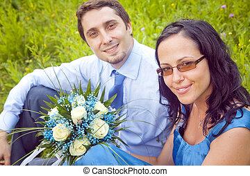 Portrait of cute beautiful couple outdoor