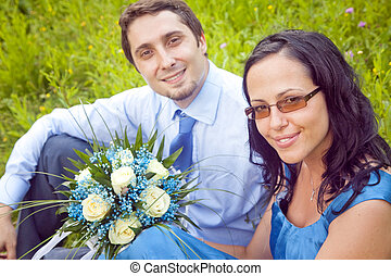 Portrait of cute beautiful couple outdoor