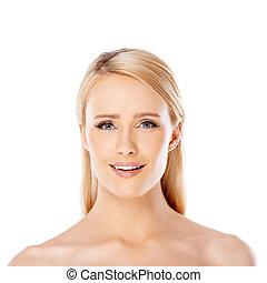 Portrait of cute blond woman