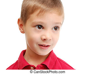 Portrait of cute child isolated on white background