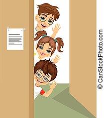 cute children peeking of the door waving