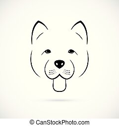 Portrait of cute Chow-Chow isolated on white background. Line art dog icon.