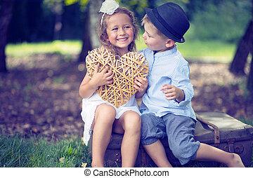 Portrait of cute couple of small children - Portrait of cute...