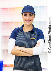 female paint store worker