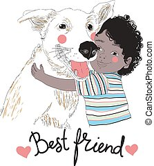 Portrait of cute little African-American boy hugging dog and Best Friend lettering handwritten with cursive font. child with his pet or domestic animal. Vector illustration for postcard, poster