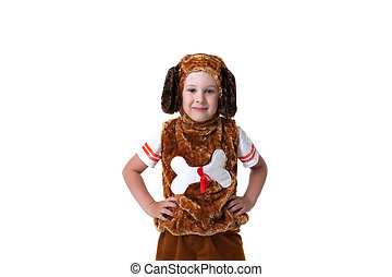Portrait of cute little boy dressed as dog