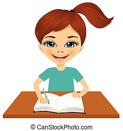 cute little caucasian student girl writing - portrait of...