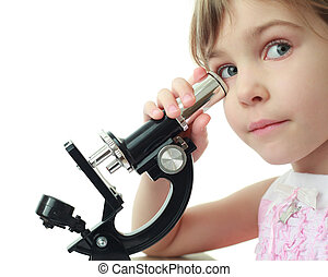 Portrait of cute little girl leaned against eye to microscope
