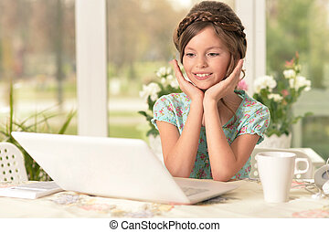 girl using modern laptop