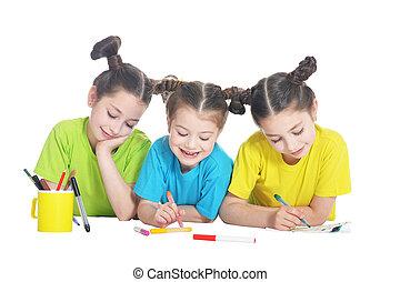 portrait of cute little girls posing on white background -...
