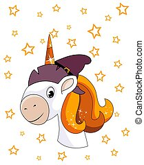 Portrait of cute smiling unicorn with witch hat and stars. Halloween theme