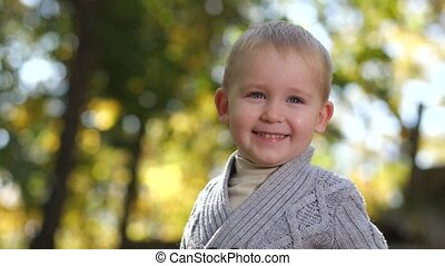 Portrait of cute toddler boy posing in autumn park