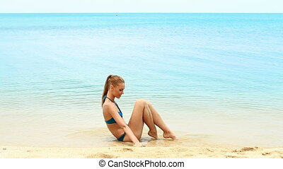 Portrait of cute woman relaxing on