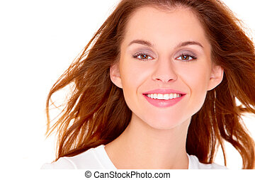Portrait of cute young woman over white