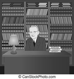 Portrait of Dale Carnegie in the library with his own books. Hand drawn illustration. Vector.