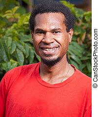 Portrait of dark skinned man - A portrait of a happy ...