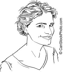 Portrait of delicate good-looking flirting woman, black and white vector drawing. Emotional expressions idea image.  Sexy model.