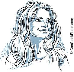 Portrait of delicate woman - Portrait of delicate bemused...