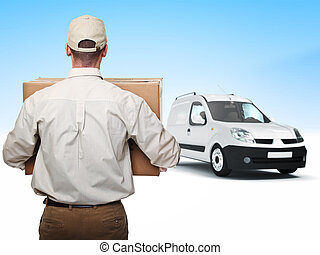 delivery man - portrait of delivery man and truck background