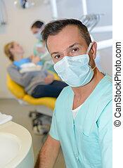 Portrait of dentist wearing mask