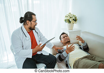 depress patient consulting with his doctor in his office