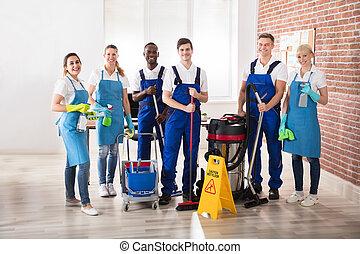 Portrait Of Diverse Janitors - Portrait Of Happy Diverse...