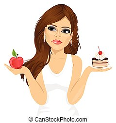 doubtful woman holding an apple and dessert trying to decide which one to eat
