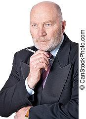 Portrait of elderly businessman on white background