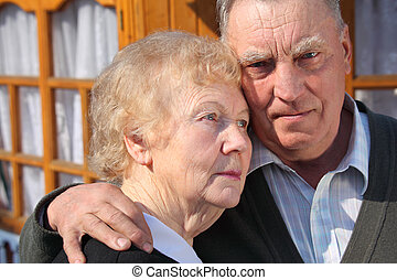 Portrait of elderly couple closeup - Portrait of serious...