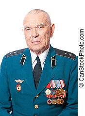 Portrait of elderly man in uniform