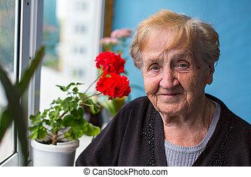 elderly woman standing